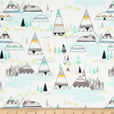Mint and Gray Teepee Indian Villiage and Mountains Fabric by Art Gallery Fabrics - Sarah Watson Indian Summer Woodland Pine Woodland Fabric, Origami, Mint And Navy, Shops, Art Gallery Fabrics, Indian Summer, Fabric Art, Fabric Design, Wall Fabric