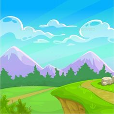 Cartoon Sunny Day Landscape by Lilu330 Cartoon sunny day landscape with green meadow, trees, mountains, cloudy sky on it. Vector nature illustration.