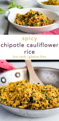 Spicy Chipotle Cauliflower Rice is a healthy, low carb side dish that can hold its own against even the most demanding dish on your menu. Great low carb option for Cinco de Mayo, too. via @midlifecroissnt