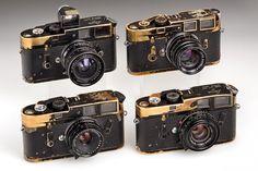 The cameras of famous Magnum photographer ABBAS: (1) M3 black paint 1962 (2) special M4 black paint 1970 with M3 viewfinder specially built for ABBAS. (3) M4 black paint 1969 (4) M4 black paint 1969