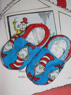 cat in the hat slippers by CookesCrafts on Etsy, $17.00