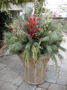 Holiday Porch Pots-- welcome Christmas!