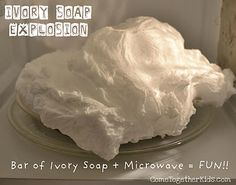 Microwave a bar of ivory soap and this will happen, fun to do before a bath.