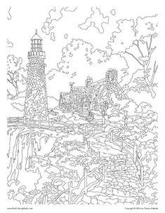Candlelight Cottage Thomas Kinkade Painting Coloring Book