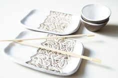 Sushi Dish Four Pieces Serving Set for Two Rustic Sushi Set