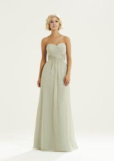 Avril ~ Romantica Bridesmaids 2015  sage, see soft chiffon colourways, zip back