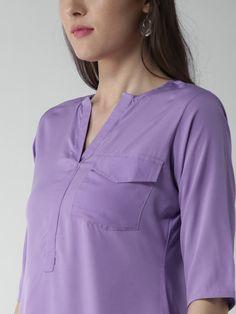 331f5443aa7 Buy GERUA Women Lavender Crepe Solid High Low Straight Kurta - Kurtas for  Women