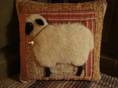 Antique Quilt Sheep Pillow- I've got some wool to use - great idea