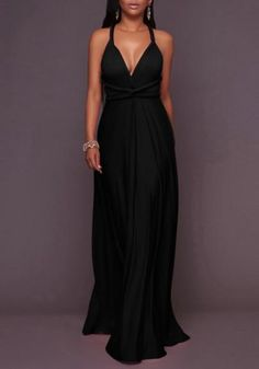 499e74784760 Black Draped Backless Lace-up Deep V-neck Homecoming Party Maxi Dress