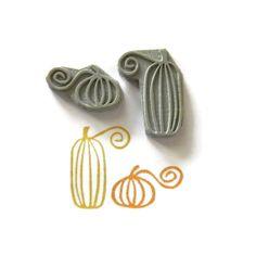 Curlicue Pumpkins Rubber Stamp Set  Fall Halloween by creatiate, $14.00