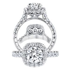 How would you like to see your round diamond set in this gorgeous platinum ring by Jack Kelége, with beautiful detailing under the head and 1.25 ctw of Brilliant Cut White Diamonds forming a halo around the center and flowing down the shank? www.diamonds.pro