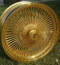 24 INCH STAMPED GOLD DAYTON wire wheels, custom wheels