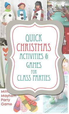 Quick Christmas Activities & Games for Class Parties or holiday get togethers.