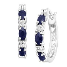 2 1/10 ct Natural Sapphire Hoop Earrings with Diamonds in Platinum over Brass, .875