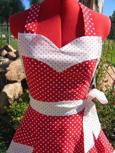 Cherry Red Polka Dot   Scarlett Chic   Sassy by sassyapron on Etsy, $34.95