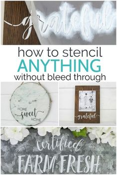 The secrets to perfect stenciling every time.  How to stencil anything without bleed through plus three fun stenciled decor ideas.  #lovelyetc #stencil #craft Spray Paint Stencils, Adhesive Stencils, Cricut Stencils, Diy Spray Paint, Stencil Templates, Stencil Painting, Stenciling, Stencil Decor, Stencil Wood