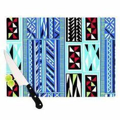 KESS InHouse American Blanket Pattern Cutting Board #allmodern #kitchen #cutting #board #accessory #glass #native #ethnic #art #blue #Kessinhouse