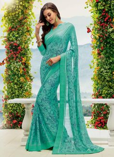 Glossy Multi Colour Print Work Casual Saree