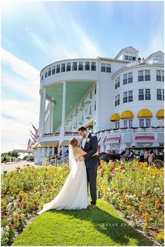 The Grand Hotel Wedding on Mackinac Island | Rayan Anastor Photography | Mackinac Island Wedding Photographer - Bride and groom in the gardens