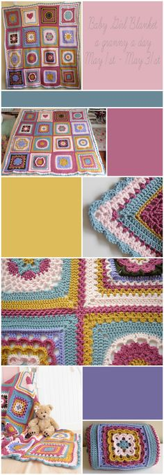 crochet ... granny squares ... each pattern different, but using the same colors helps maintain unity ... lovely colors ...