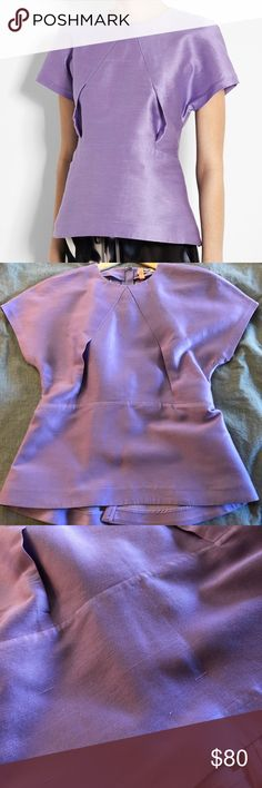 Acne Sweet Kick Origami Top in Lavender Only worn 1x and dry cleaned after, silk and unique. Fabric has a texture to it, but they're not pulls in fabric. Size 38 Fr, US 4 Acne Tops Blouses