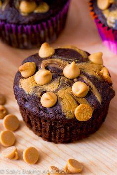 Skinny Peanut Butter Swirl Chocolate Cupcakes
