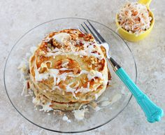Hummingbird Pancake- pancakes with sliced bananas, caramelized pineapple, toasted coconut and pecans.  All of this topped with a cream cheese drizzle.