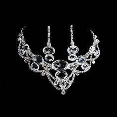 Alloy With Shining Rhinestones Ladies' Wedding Bridal Jewelry Set Including Necklace And Earrings – USD $ 19.99 www.lightinthebox.com