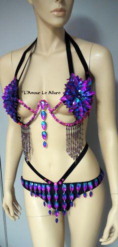 2390bd9109a5e Dark Cotton Candy Rihanna Diamond Samba Cage Bra and Bottom Cosplay Dance  Costume Rave Bra Halloween Burlesque Showgirl from L Amour Le Allure