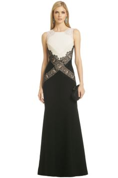BCBGMAXAZRIA Locket of Lace Gown you could use this idea to make a gown longer and wider through the torso...