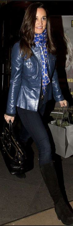 Pippa Middleton's style  scarf – Beulah London    Purse – Modalu    Shoes – Aquatalia    similar style boots by the same designer  OutfitIdentifier.com