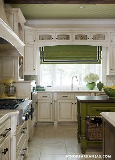 white kitchen, green plank ceiling, roman shade + island