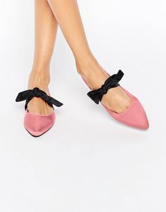 ASOS LOVEABLE Pointed Bow Ballet Flats - Pink