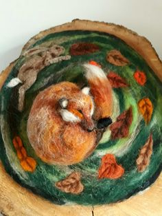 Items similar to sleeping fox needle felt sculpture on oak plinth on Etsy Felted Wool Crafts, Felt Crafts, Diy And Crafts, Needle Felted Animals, Felt Animals, Wet Felting, Needle Felting, Hedgehog Craft, Felt Fox