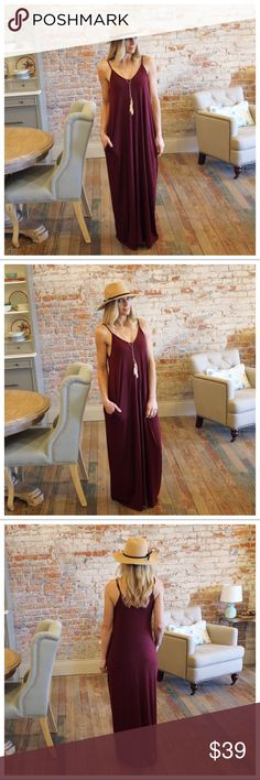 """Dark Burgundy V Neck Cami Maxi Dress w/ Pockets Modeling size small  Bust laying flat pit to pit: S 17"""" M 18"""" L 19"""" XL 20"""" Length S 58"""" M 59"""" L 60"""" XL 60.5"""" 55 poly 40 rayon 5 spandex IRPD7510202.RS1024P Infinity Raine Dresses Maxi"""