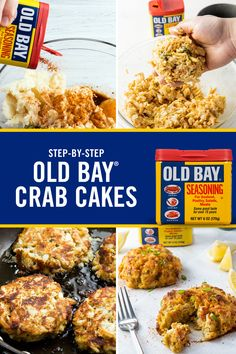Making homemade crab cakes is easier than you think! Follow the four easy steps of our classic Old Bay Crab Cake recipe and impress your family with the special meal.  Homemade Crab Cakes, Crab Cake Recipes, Fish Recipes, Seafood Recipes, Dinner Recipes, Cooking Recipes, Healthy Recipes, Crab Cake Recipe With Canned Crab, Cooking Tips