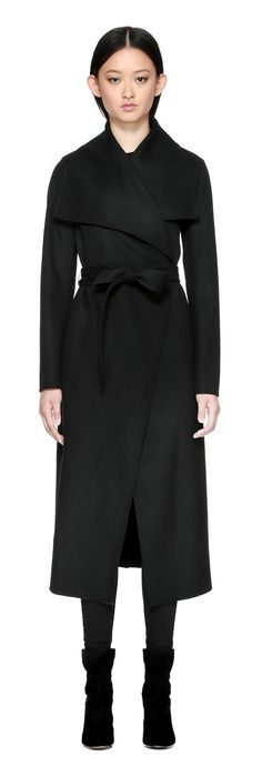 MAI BELTED WOOL COAT WITH WATERFALL COLLAR IN BLACK