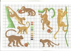 singes * point de croix * cross stitch monkey