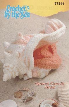 -Crochet By The Sea Queen Conch Shell Crochet Pattern - Home Decor