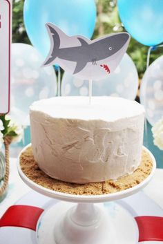 CrowningDetails's Birthday / Sharks - Photo Gallery at Catch My Party Birthday Party Tables, Boy Birthday Parties, Summer Birthday, Happy Birthday, 3rd Birthday, Party Desserts, Party Cakes, Party Centerpieces, Centerpiece Ideas