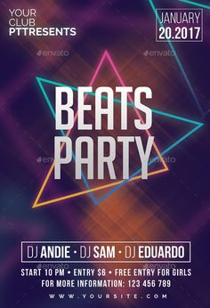 Beats Party Flyer Template PSD