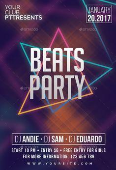 Beats Party Flyer Template PSD