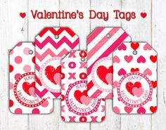 Pink and Red Valentines Day Favor Tags! These super cute and sweet Valentines Day tags are perfect for all your Valentine favors!