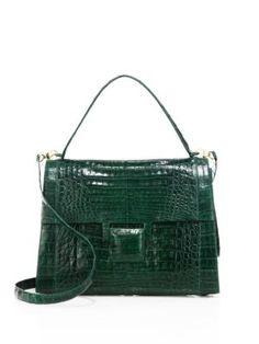 NANCY GONZALEZ Medium Kelly Crocodile Top-Handle Bag. #nancygonzalez #bags #shoulder bags #hand bags #suede #lining #
