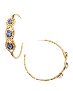 Aigrette Hoop Earrings with Sodalite by Alexis Bittar at Neiman Marcus.