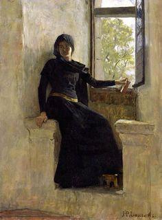 Waiting (before 1905) by Jean Pierre Laurens (1838-1921) Oil