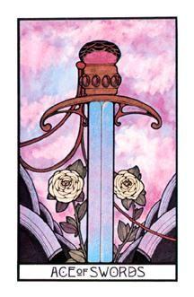 Ace of Swords - The Aquarian Tarot Deck. Artist: David Palladini, published by Morgan Press, 1970. Art Deco Style