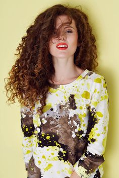 Kamila Gronner ss2015 sweatshirt; polscy projektanci Spring Summer 2015, Hair Makeup, Sweatshirt, Long Sleeve, Model, Collection, Fashion, Moda