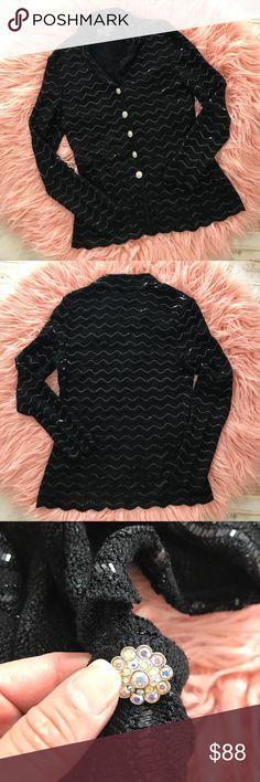 ST. JOHN Couture Knit Black Jacket 6 Exquisite Authentic ST. JOHN Couture Knit Black Jacket - featuring iridescent paillette work and scalloped edge details. EUC Size: 6 St. John Jackets & Coats Blazers