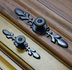 French Country Black Dresser Knobs Drawer Knob Back by jade4wood